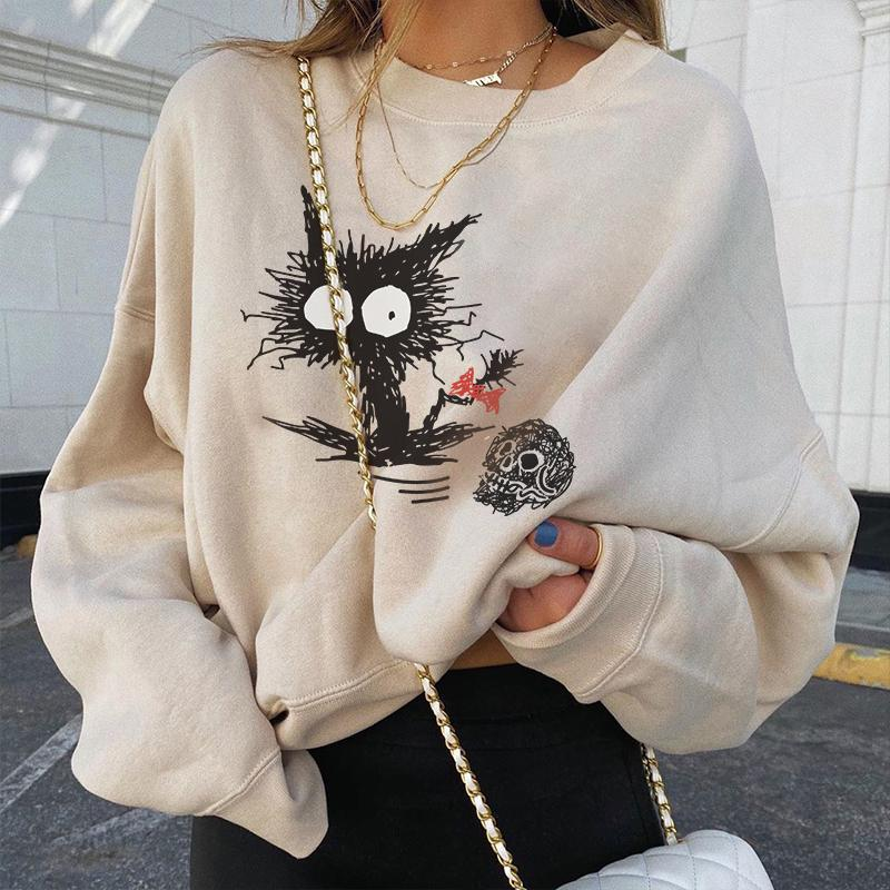 Fashion skull black cat loose designer sweatshirt