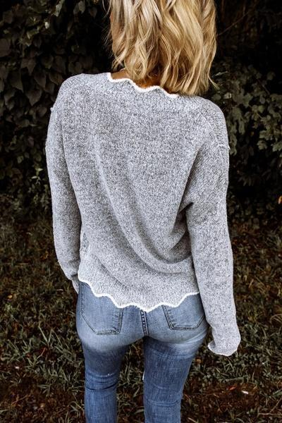 V Neck Knitted Long Sleeves Pullover Sweater