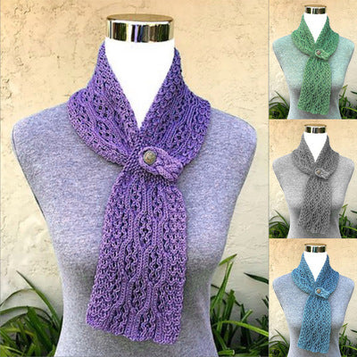 Embroidered solid color knitted casual buttoned scarf