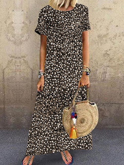 Vintage Casual Loose Short Sleeve Print Long Dress
