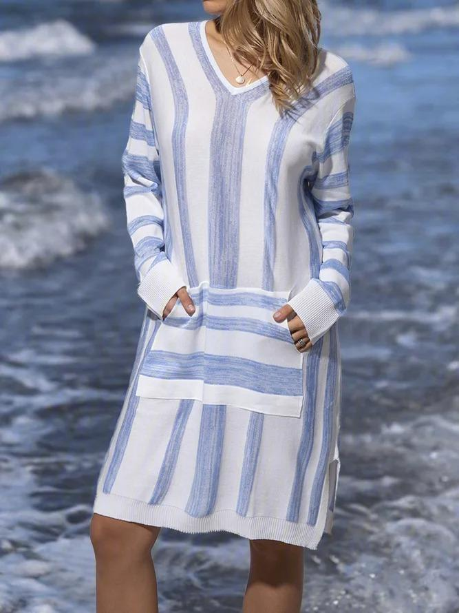 Striped wide casual dress with a V-neck