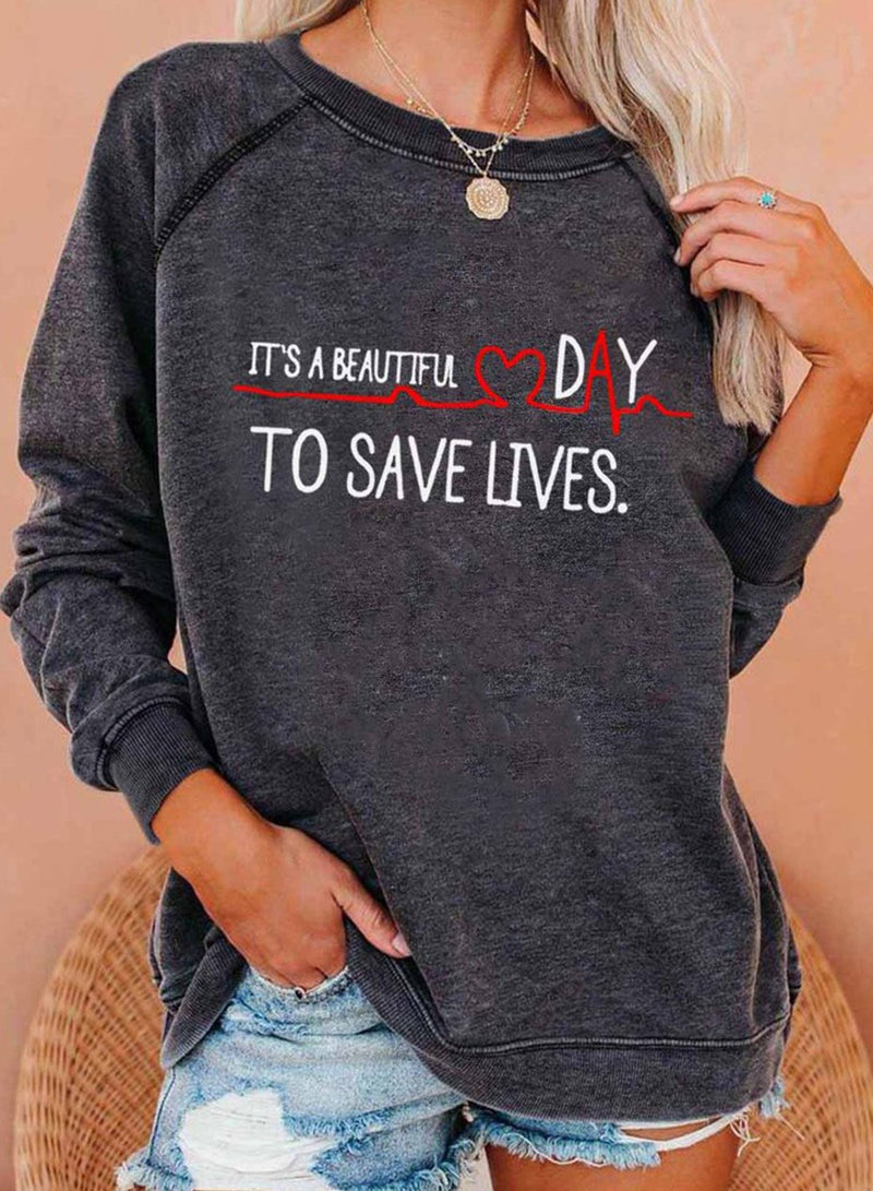 Women One-shoulder Letter Slogan Casual Sweatshirts