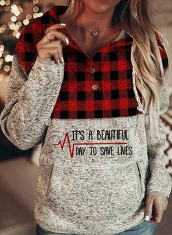 Letter Print Plaid Pocket Casual Sweatshirt