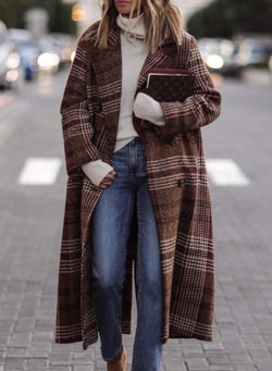 Vintage Plaid Striped Cotton Long Sleeve Coat