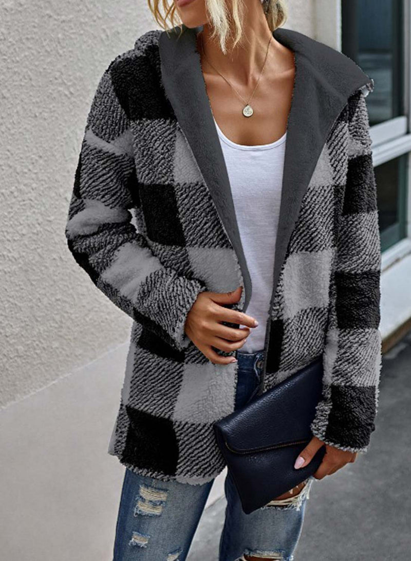 Striped Cotton High Neck Open Front Coat
