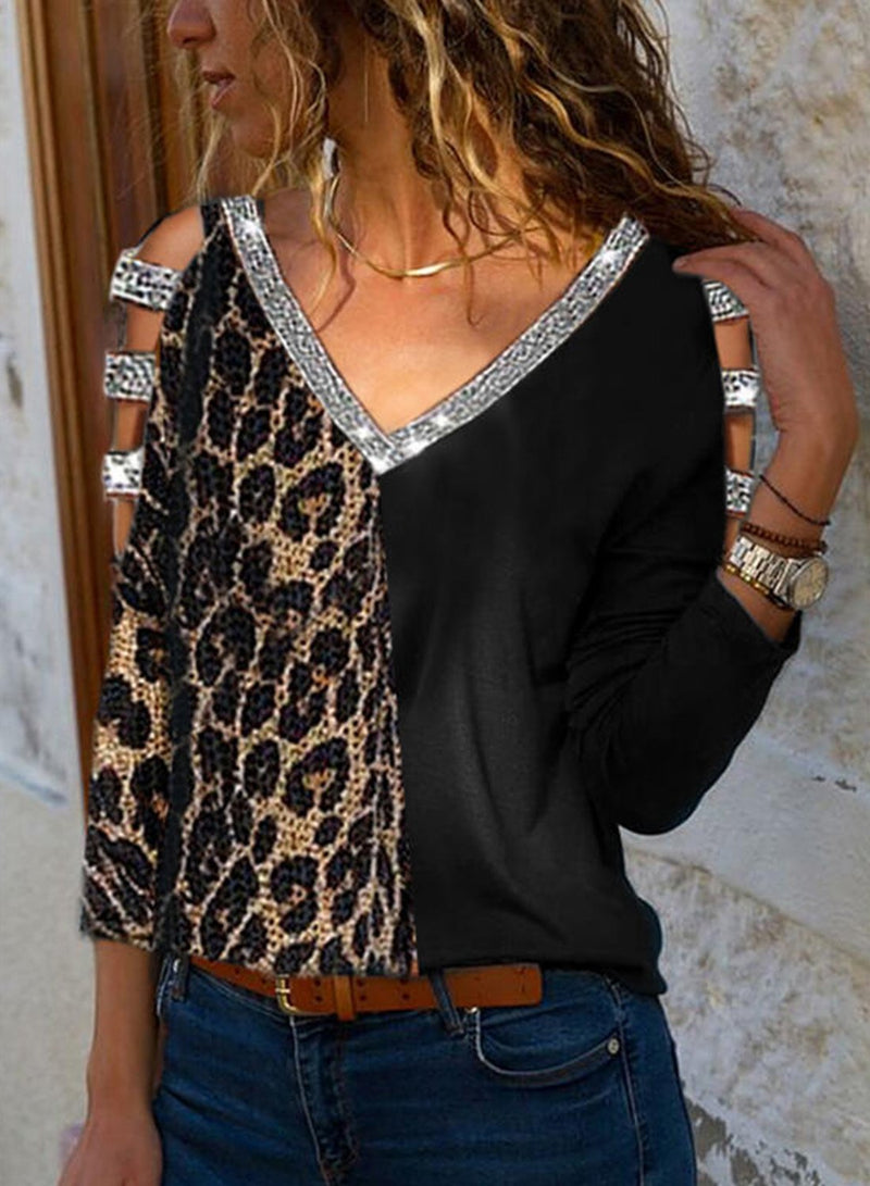 Leopard Patchwork Color Block Sequins Blouse