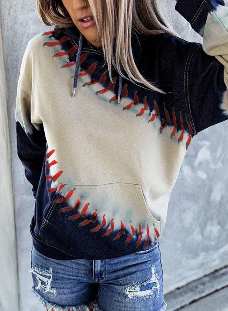 Baseball Lace One The Side Long Sleeve Hoodies