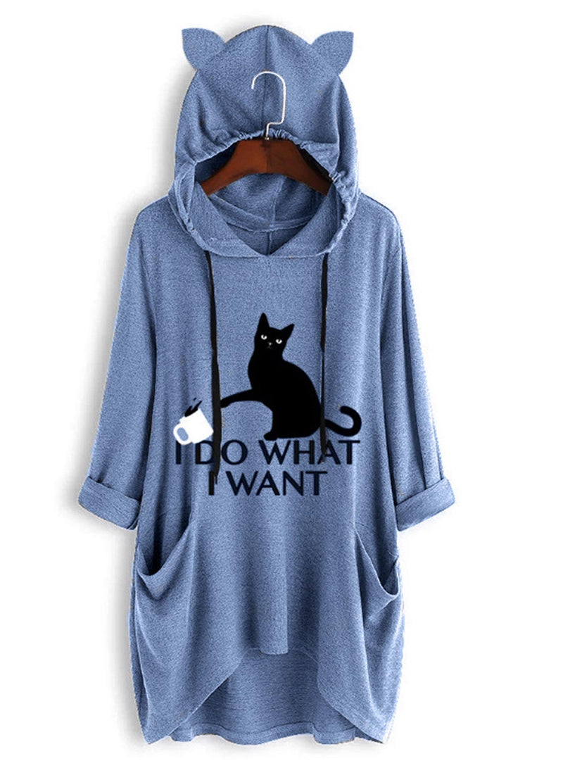 Loose Home Hooded Pocket Cat Print Dress