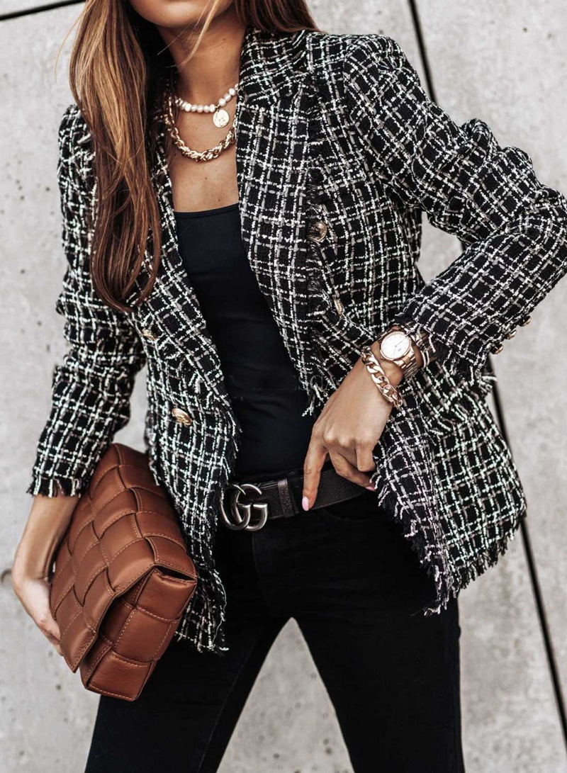 Vintage Plaid Fringe Button Open Front Blazer