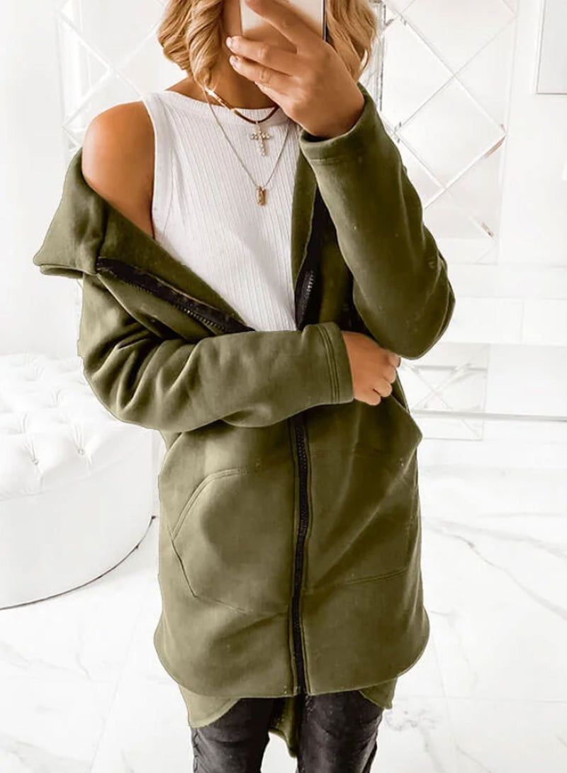 Women Pockets Zipper Hooded Coats