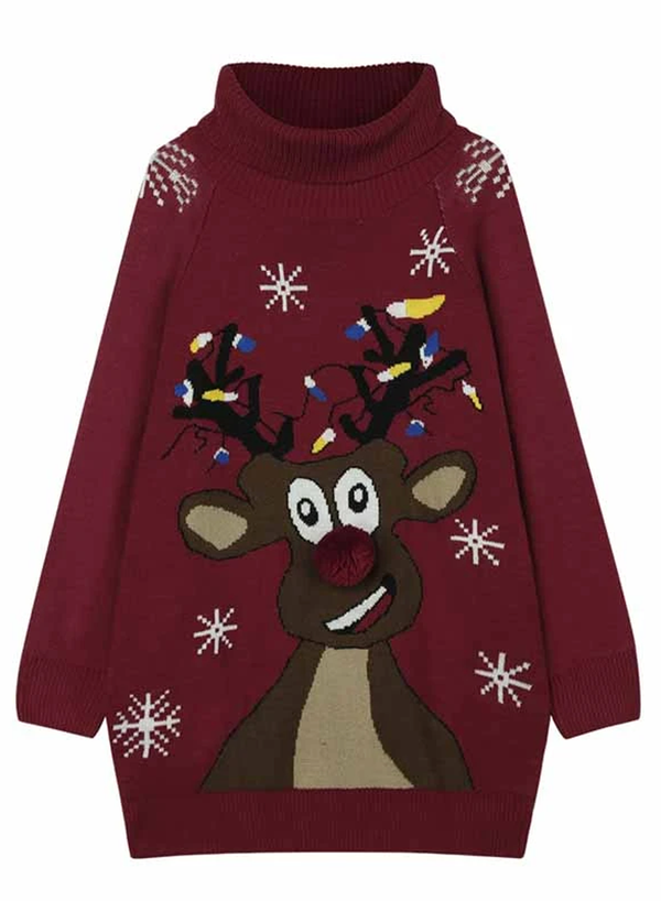 Turtleneck Oversized Christmas Pullover Sweater Dresses