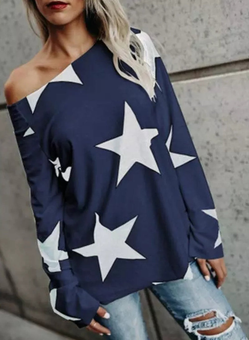 Oblique Shoulder Big Five Pointed Star Casual Loose Sweatshirt