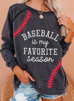 Women's Baseball Is My Favorite Season Print Casual Sweatshirt