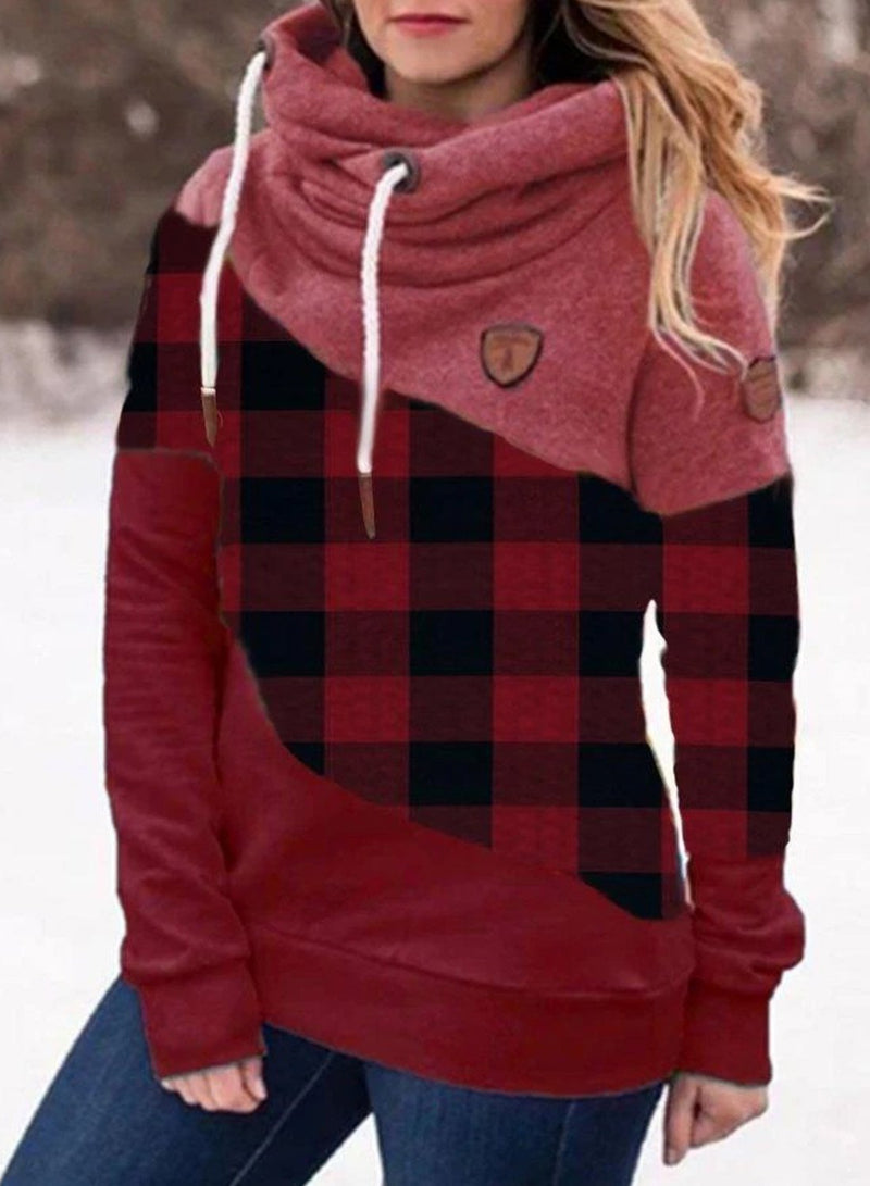 Dark Red Plaid Stitching Casual Hooded Sweatshirt