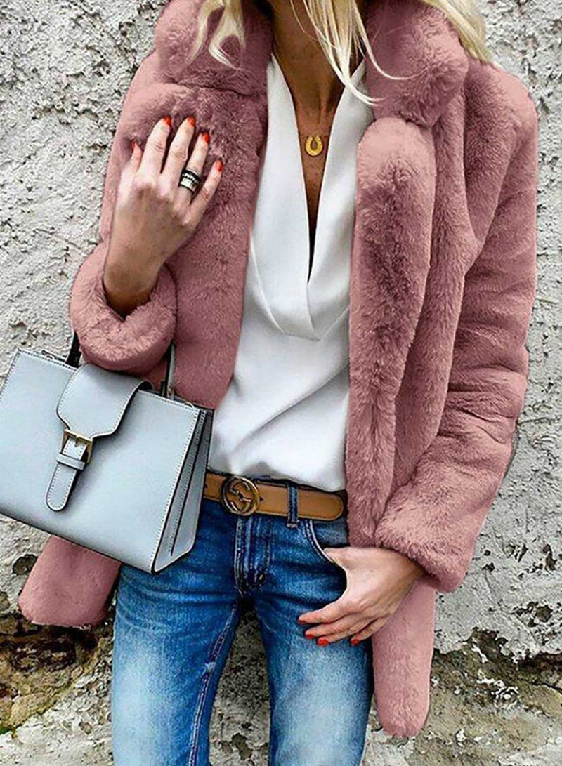 Faux Fur Lapels Daily Coat
