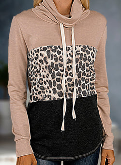 Sexy Leopard Color Block High Neck Casual Sweatshirt