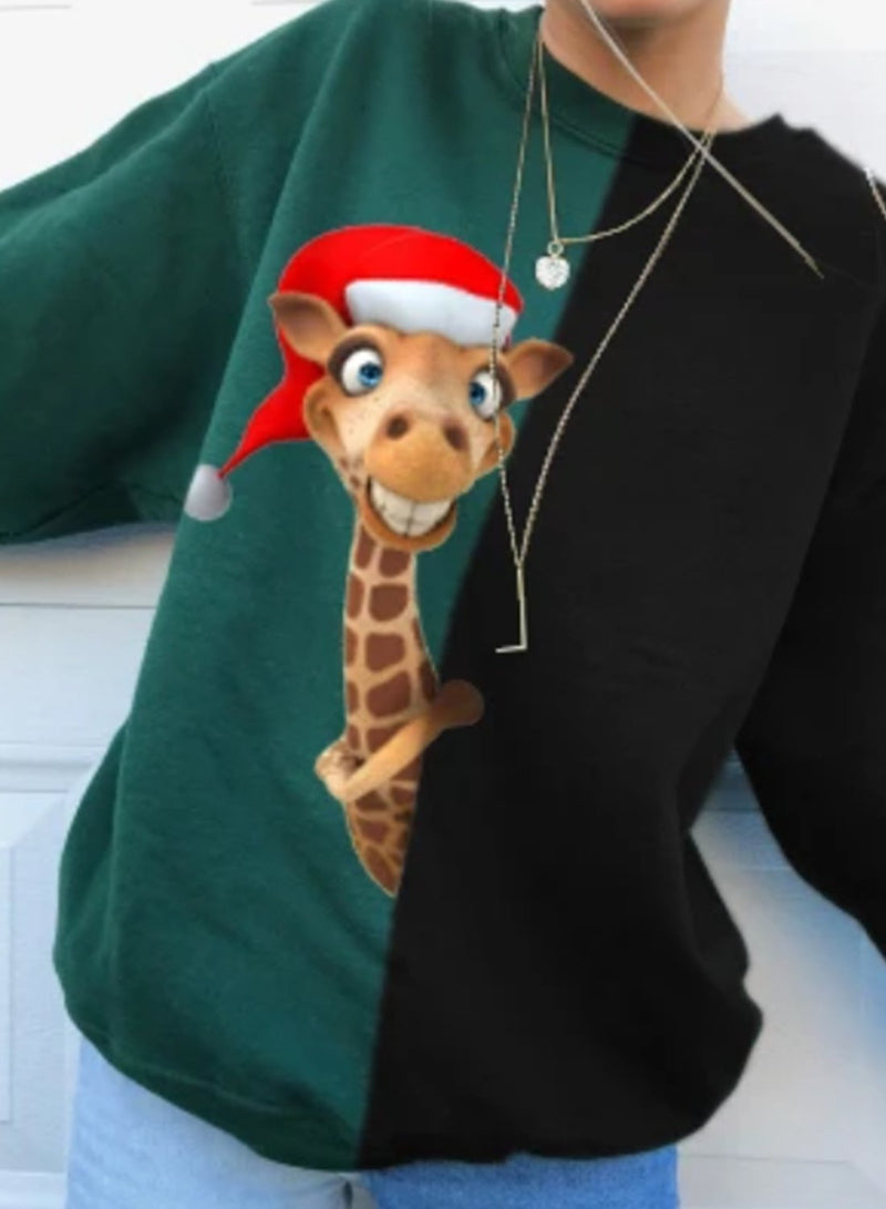 Christmas Cute Animal Printed Regular Sweatshirt