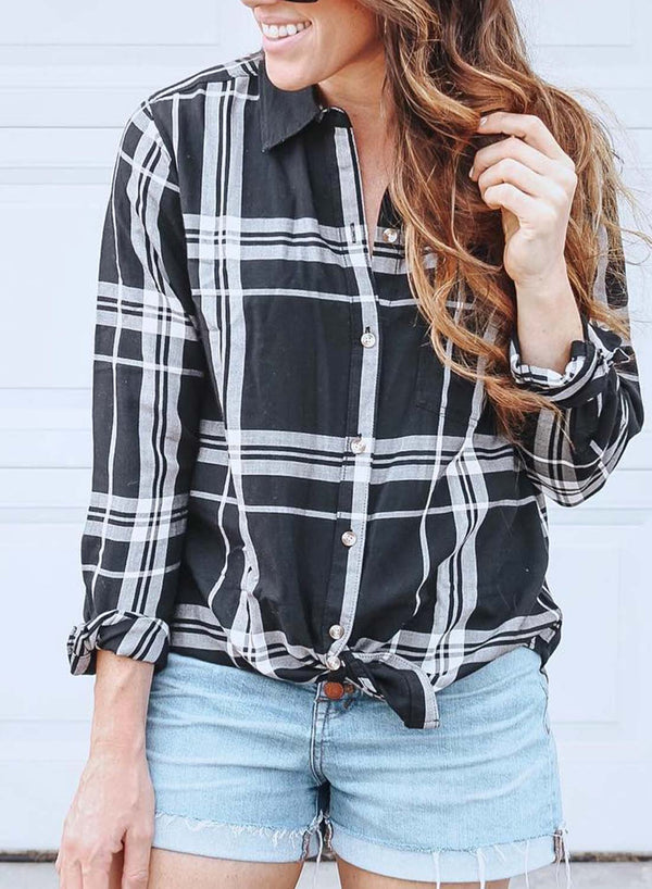 Black and White Striped Long Sleeve Shirt