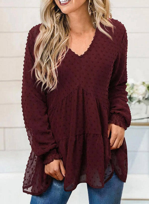 Dark Red Solid V Neck Casual Blouse
