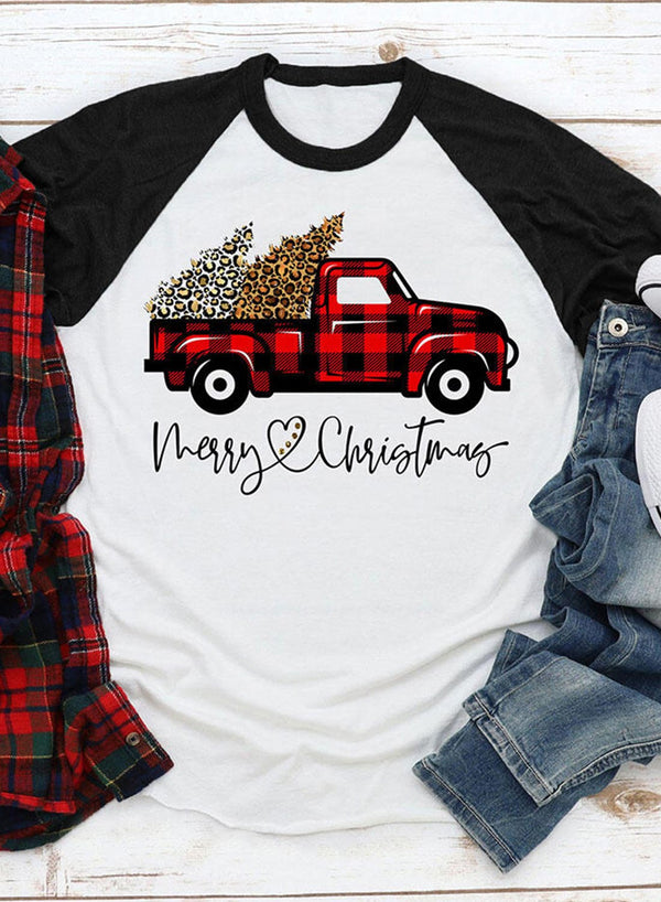 Christmas Letter Round Neck Daily T-Shirt
