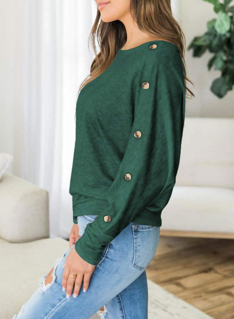 Solid Buttoned On Long Sleeve Sweatshirt