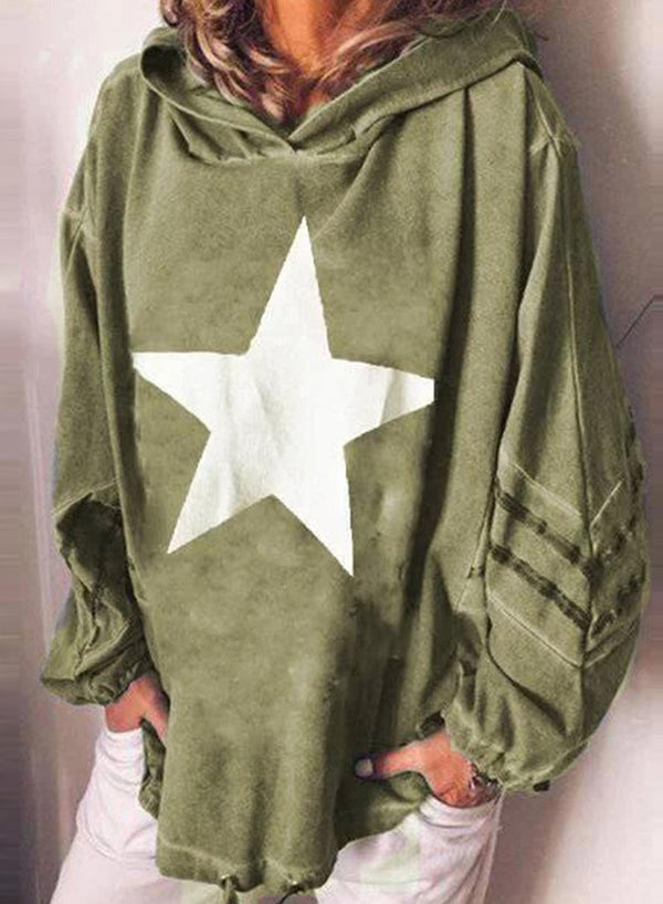 Lace-Up Five-Pointed Star Print Hooded Casual Sweatshirt