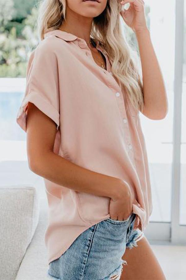 Buttoned Shirt Collar Solid Short Sleeves Blouses