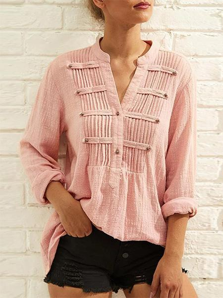 Solid Buttoned Fold Paneled V Neck Blouses