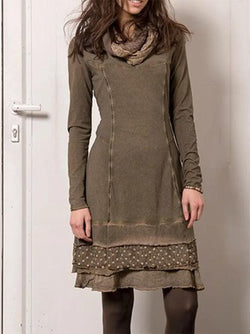 Long sleeve dress made of cotton