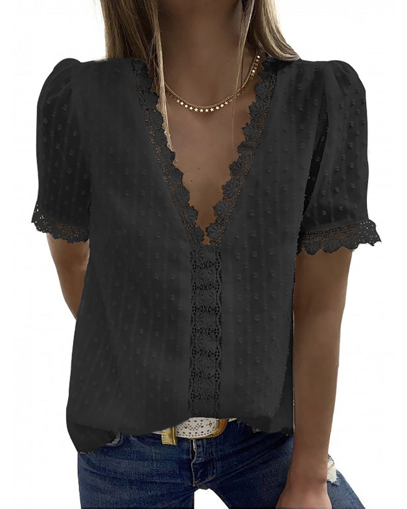 V Neck Lace Blouse (6 Colors)