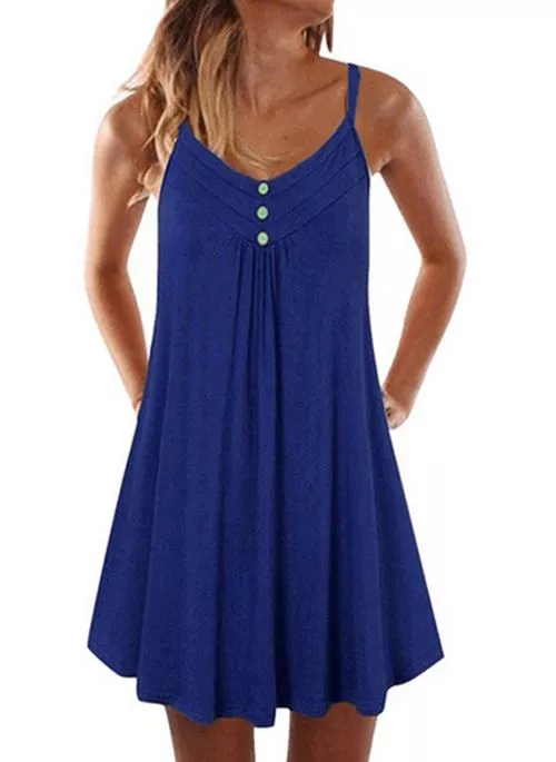 Casual Solid Tunic Camisole Neckline A-line Dress