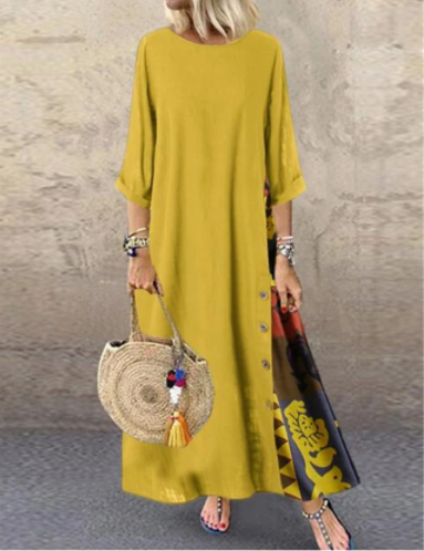 Linen Colorblock Print Shift Maxi Dress