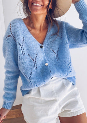 Hollow V-neck long-sleeved sweater