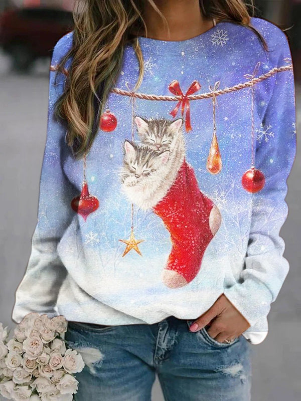 Xmas Eve Gift Stocking  Printed Sweatshirt