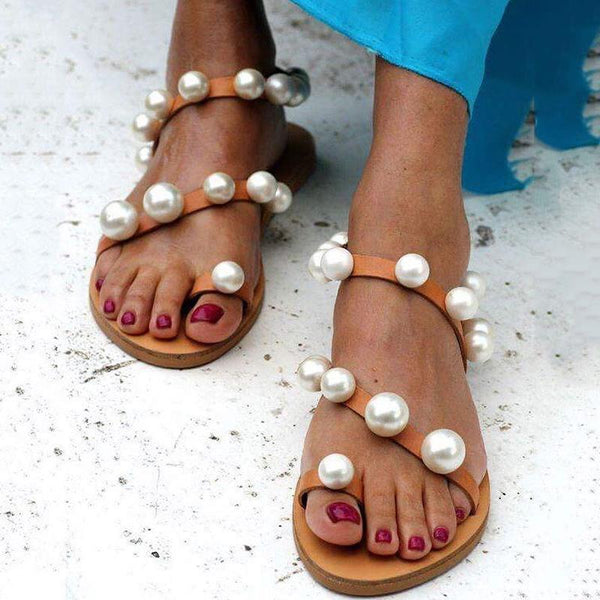 Fashion Vintage Pearl Flip-Flop Flat Sandals