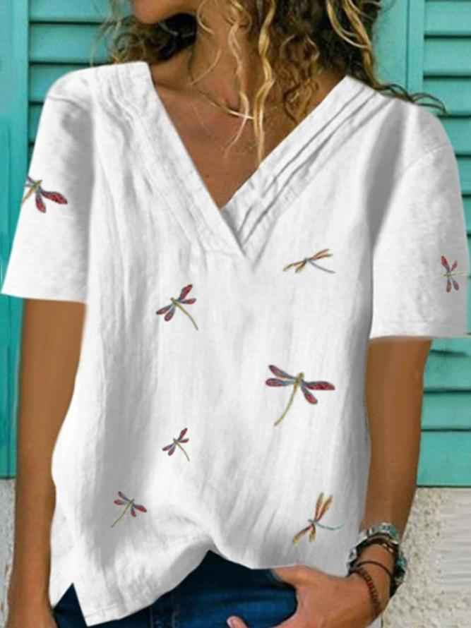 White Printed Shift Casual Cotton-Blend Shirts & Tops