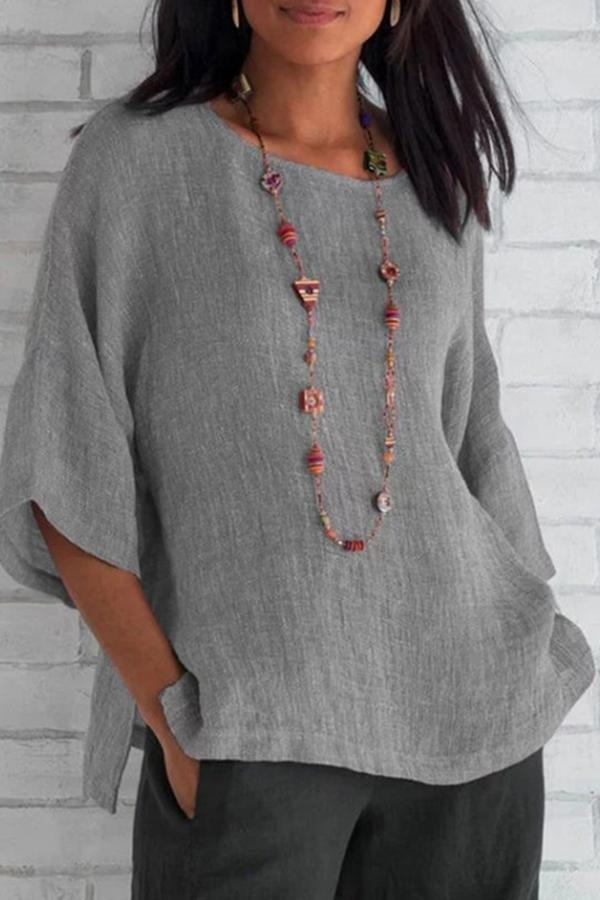 Casual Solid Linen Top