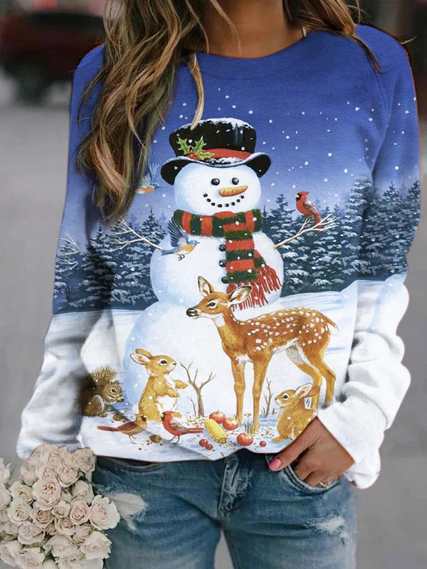 Snowman With Friends Printed Sweatshirt