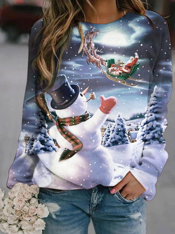 Santa And Snowman Printed Sweatshirt