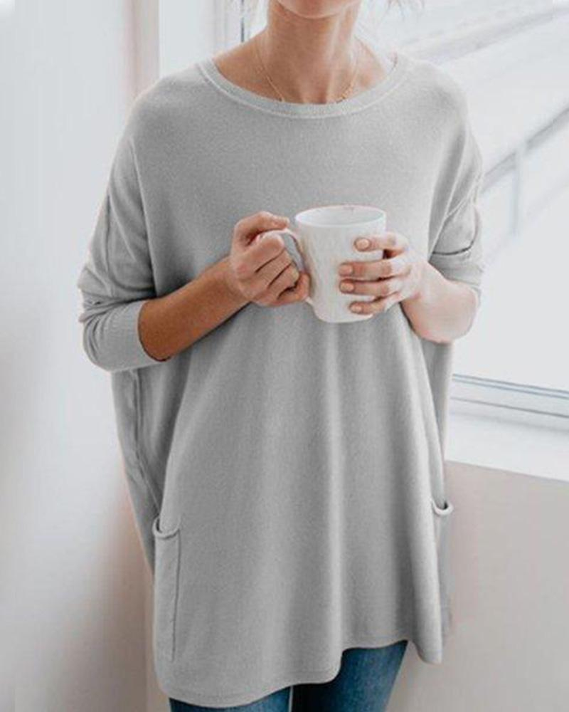 Casual Long Sleeve Cotton-Blend Solid Shirts & Tops