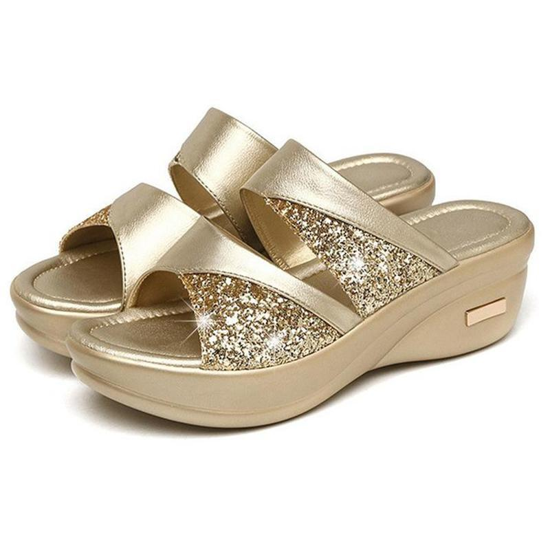 Womens platform wedge open toe glittery casual slippers