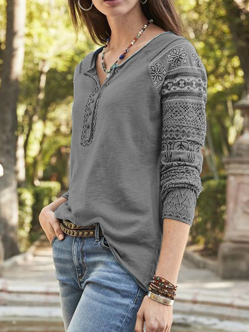 Vintage Print Button Raglan Sleeve T-shirts