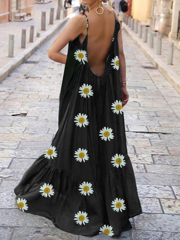 Fashionable Bohemian Daisy Print Casual Dress