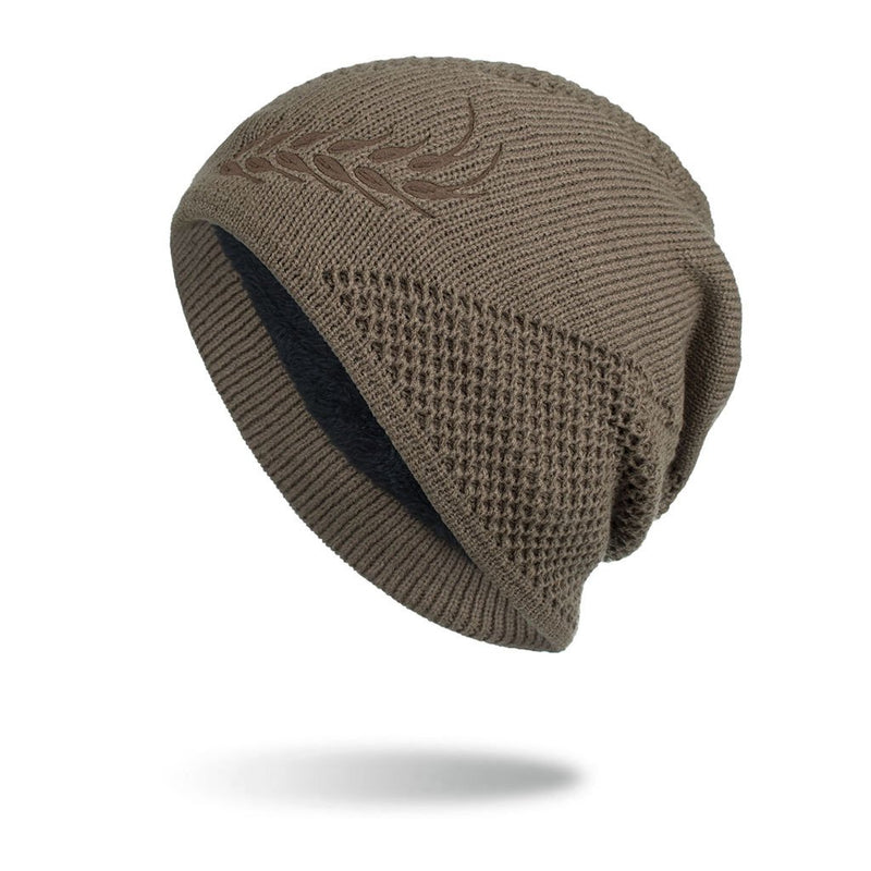 Outdoor Warmth Embossed Knitted Pullover Cap