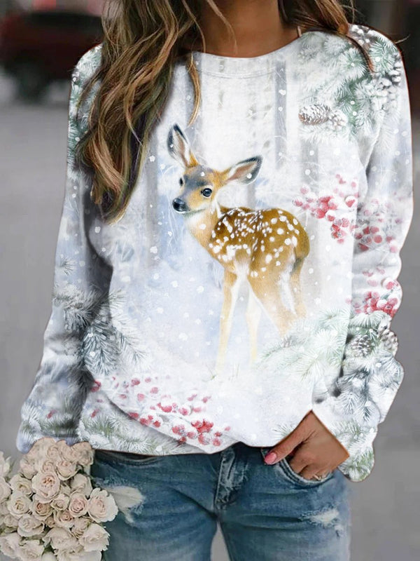 White Deer Art Oil Paintings Printed Sweatshirt