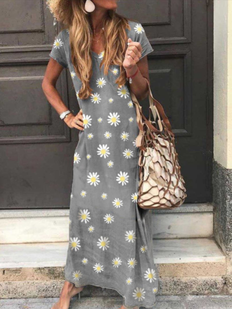 Casual Waist Swing Short Sleeve Daisy Print Dress