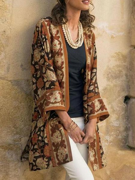 Stylish vintage printed cardigan shawl