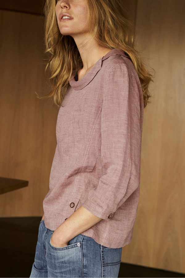 Linen Crew Neck Solid Long Sleeve Buttoned Blouses