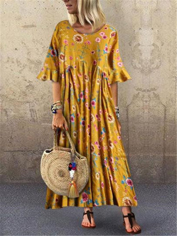 Fashion Casual Loose Print Flare Sleeve Dresses