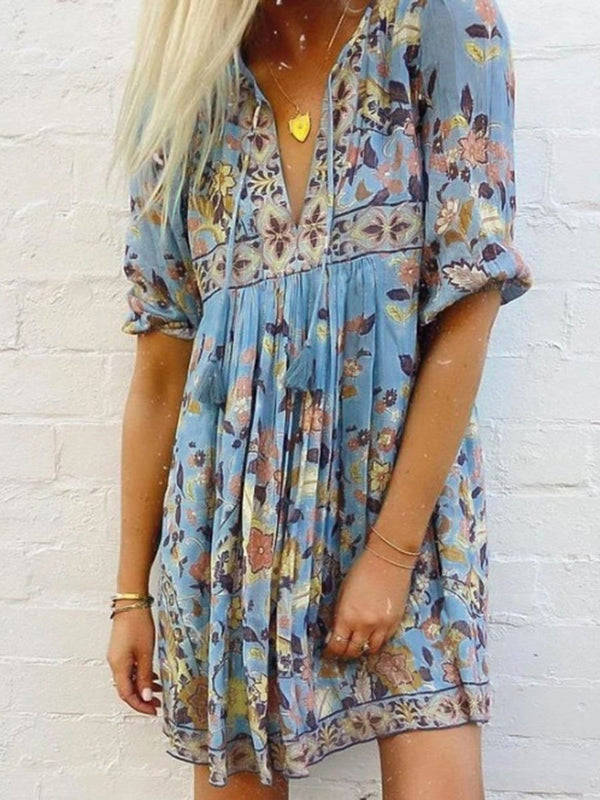 Boho Print 3/4 Sleeve Tassel Mini Dress
